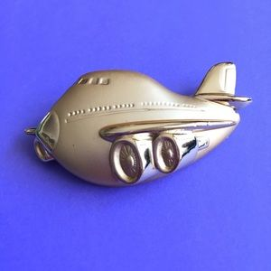 Airplane Gold Brooch
